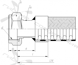 Е. Гайка накидная с трубной цилиндрической резьбой под торцевое уплотнение.