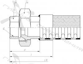 Щ. Муфта соединительная с уплотнением на конус и внутренней трубной цилиндрической резьбой.