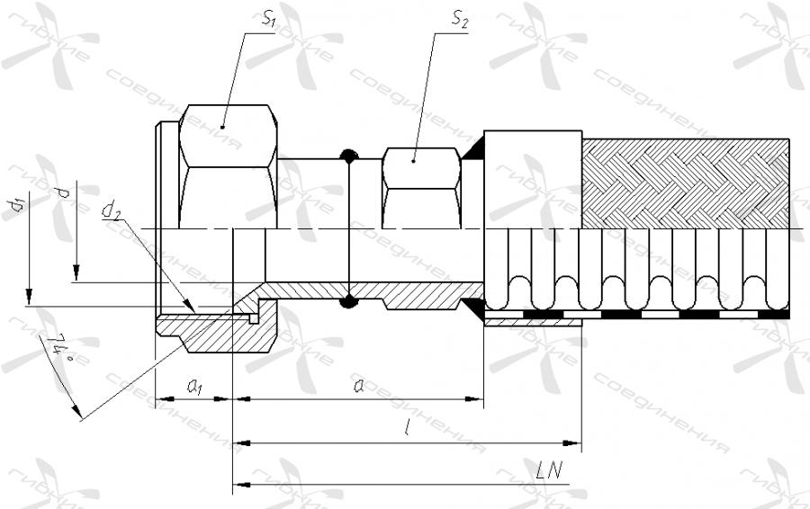 А. Гайка накидная с трубной цилиндрической резьбой под ниппель с конусом 74 градуса.&width=268