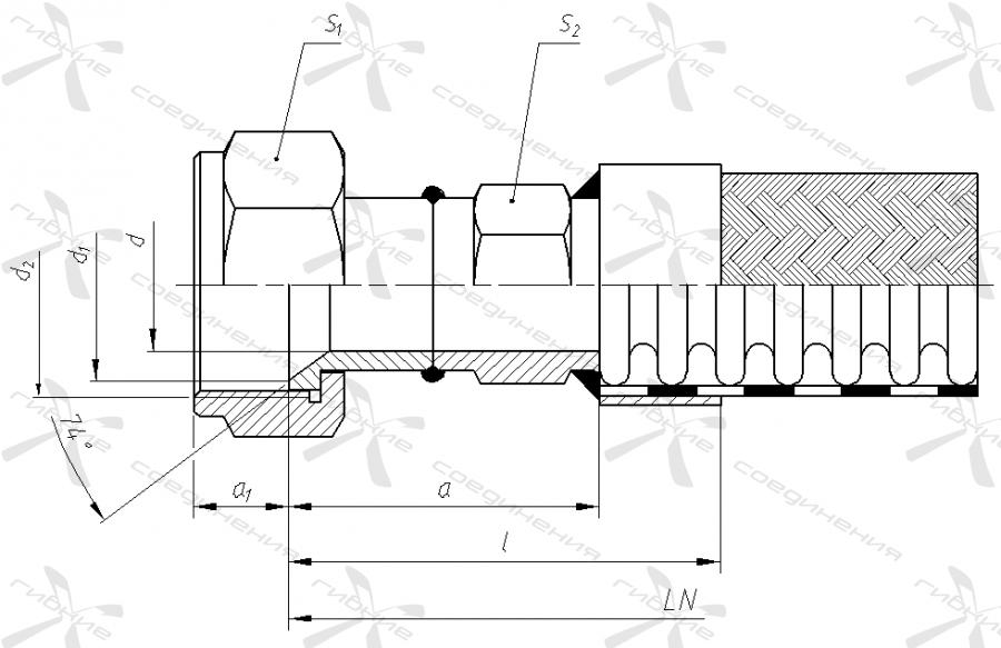 АМ. Гайка накидная с метрической резьбой под ниппель с конусом 74 градуса.&width=268