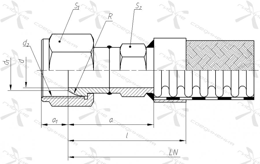 Б. Гайка накидная с трубной цилиндрической резьбой «сфера» под ниппель с конусом 60 градусов.&width=268