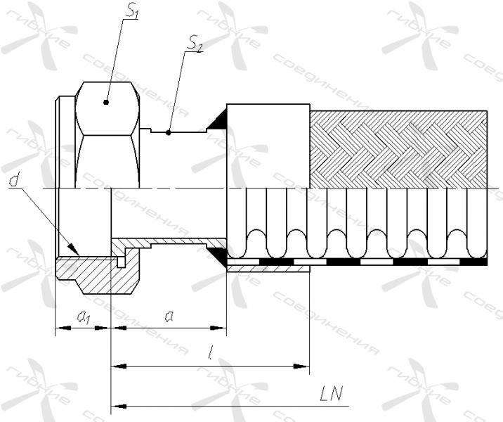 Е. Гайка накидная с трубной цилиндрической резьбой под торцевое уплотнение.&width=268