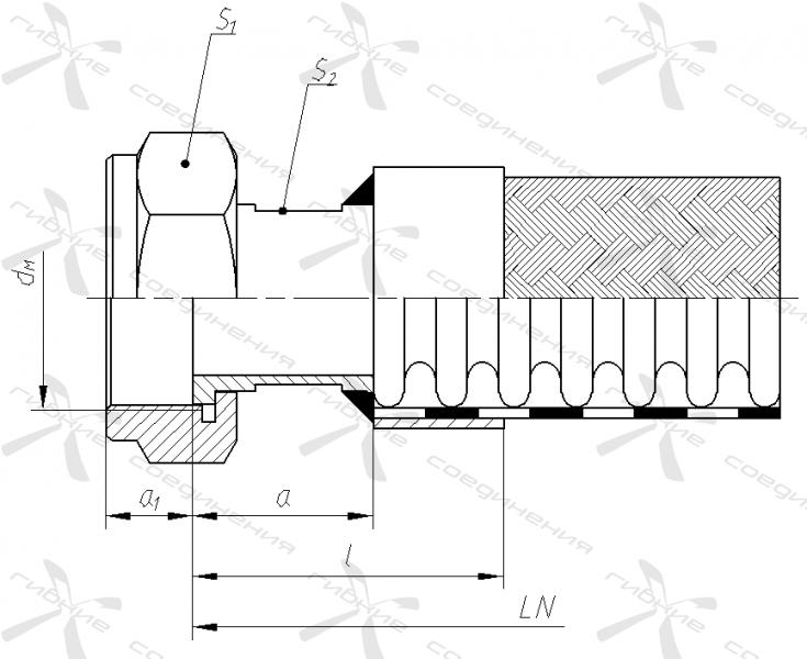 ЕМ. Гайка накидная с метрической резьбой под торцевое уплотнение&width=268
