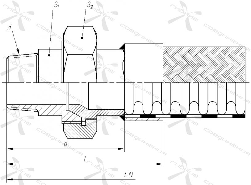 ЦР. Муфта соединительная с уплотнением на конус и наружной трубной конической резьбой.&width=268
